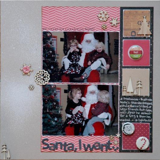 Santa, I want...Supplies | Template - Simple Scrapper Premium Membership; Cardstock - Stampin' Up!; Patterned Paper - Bo Bunny, Crate Paper, , My Mind's Eye, Pebbles, Studio Calico; Wood Veneer, Badges, Alpha Stickers, Mist - Studio Calico; Button - Crate Paper; Glitter Glue, Ink - Ranger; Pen - Sakura; Adhesive - Glue Arts, Glue Dots, Ranger; Kit - Brooklyn Flea by Studio Calico