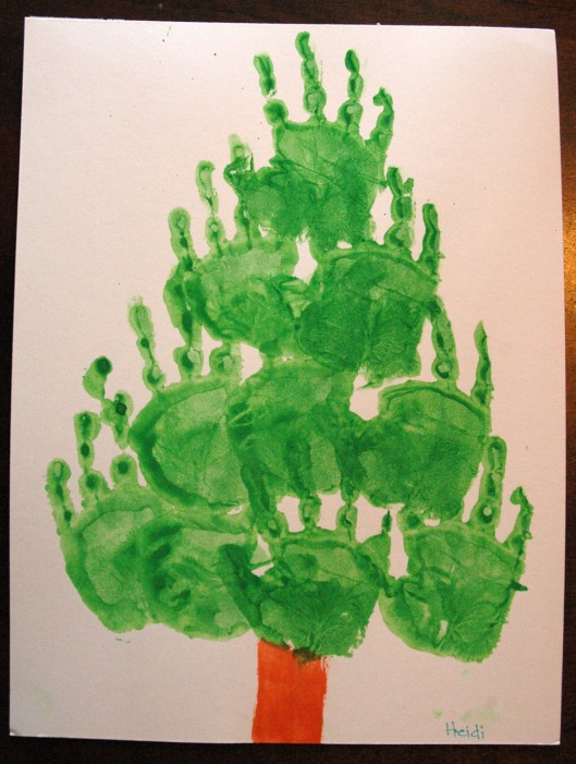 advent tree - hand prints